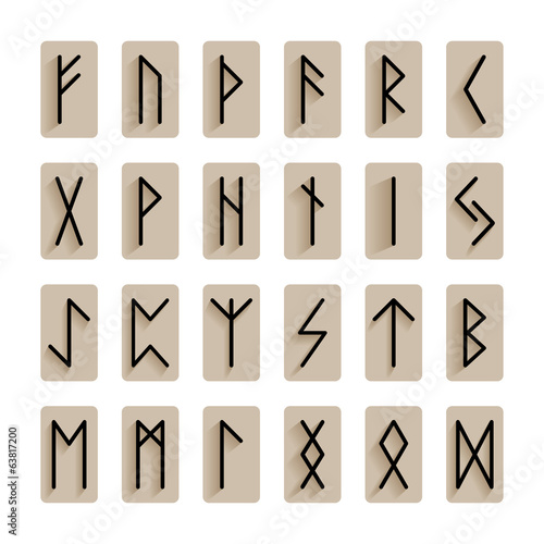 Set of signs runes isolated