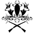 hunting emblem with guns and fallow deer heads