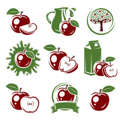 Apple labels and elements set. Vector