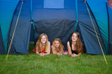 three girls camping