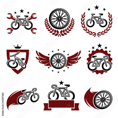 Bicycle labels and icons set. Vector
