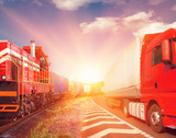 Fototapeta freight train and truck as transportation concept