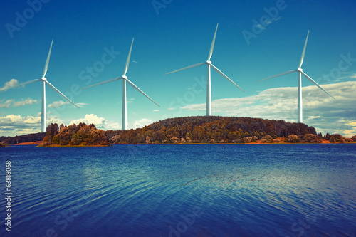 wind turbines on island