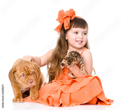 girl playing with cat and dog. isolated on white background