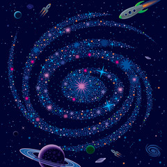 Cosmic Background Galaxy And Spaceships