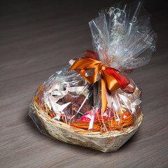 gift basket against wooden background