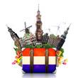 Holland, Amsterdam landmarks, travel and retro suitcase