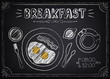 Vintage Poster Breakfast: fried eggs, coffee. Freehand drawing - 63818890