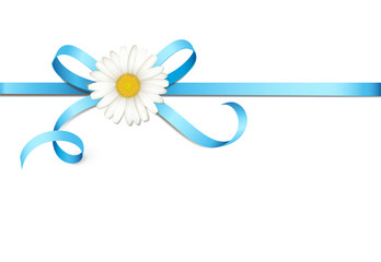 Blaue Schleife mit Margeritenblüte