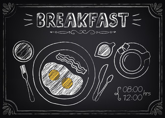 Vintage Poster Breakfast: fried eggs, coffee. Freehand drawing