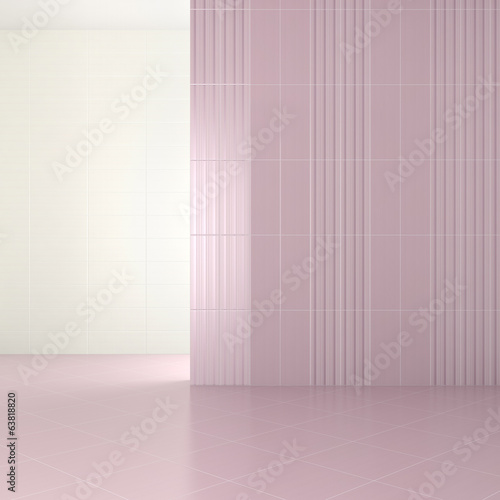 empty modern bathroom with purple tiles