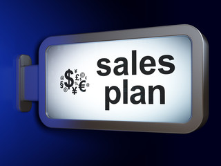 Advertising concept: Sales Plan and Finance Symbol on billboard