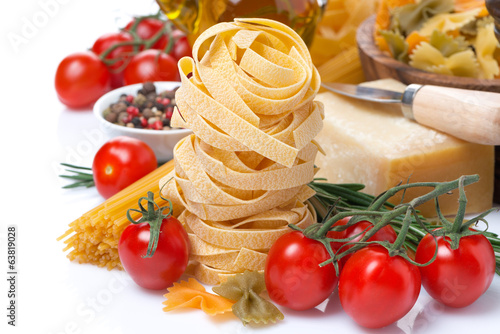 Italian pasta nests, vegetables and parmesan