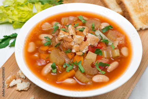 minestrone with vegetables, tomatoes, beans