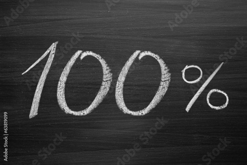 100-percent title written with a chalk on the blackboard