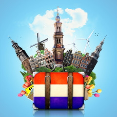Holland, Amsterdam landmarks, travel and retro suitcase