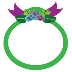 Violet flowers, green circle stiker