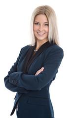 Attraktive junge Geschäftsfrau mit Sakko freigestellt auf Weiß