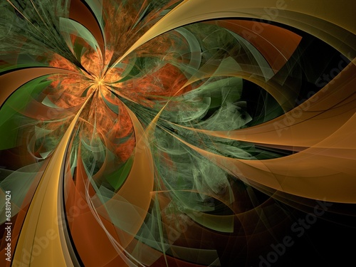 Symmetrical orange fractal flower, digital artwork