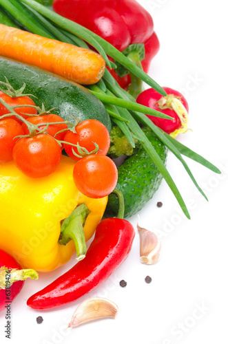 seasonal fresh vegetables isolated on white with space for text