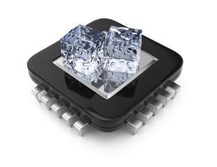 CPU chip and ice cubes