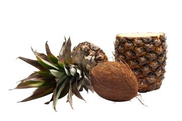 Single coconut and half-cut pineapple