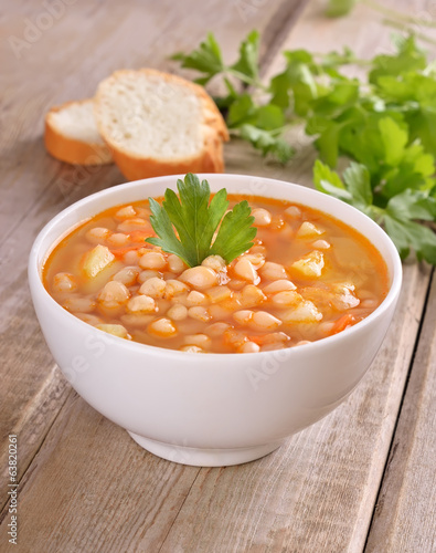 Bean soup in white bowl