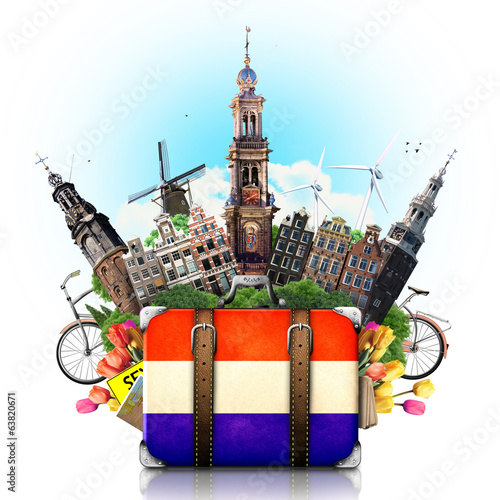 Aluminium Rotterdam Holland, Amsterdam landmarks, travel and retro suitcase