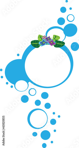 Flowers circle frame design blue