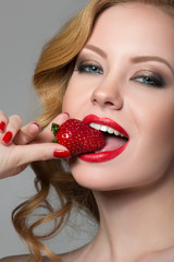 Beautiful Woman with strawberry