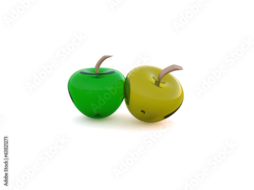 Glass apple isolated in white