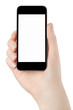 Smartphone in woman hand with blank screen, clipping path