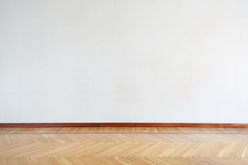 Empty room with wooden floor, parquet