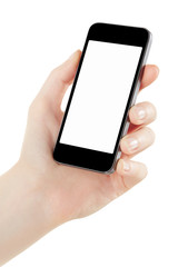 Smartphone in woman hand isolated on white, clipping path