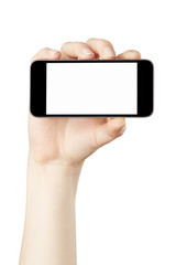 Woman hand holding horizontal smartphone on white, clipping path