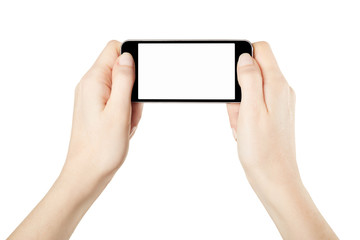 Hands holding smartphone gaming on white, clipping path