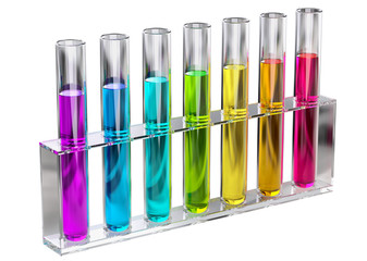 colored transparent solution in test tubes