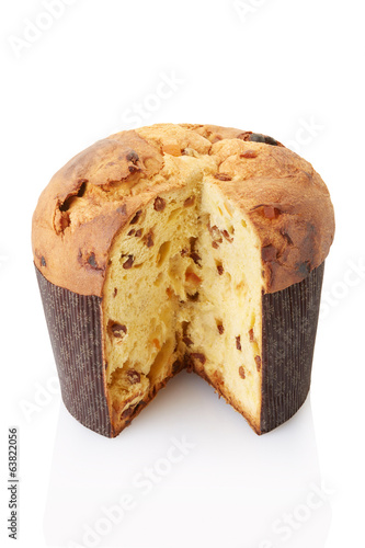 Panettone, italian Christmas bread on white, clipping path