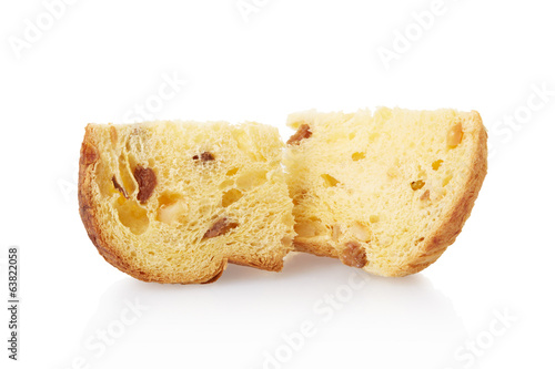 Panettone pieces isolated on white, clipping path