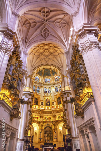 Basilica Stone Columns Stained Glass Cathedral Andalusia Granada