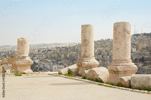 Columns on the Amman citadel, city view