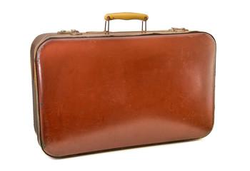 valigia vintage in cuoio rosso