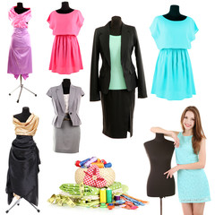 Collage of clothing designer isolated on white