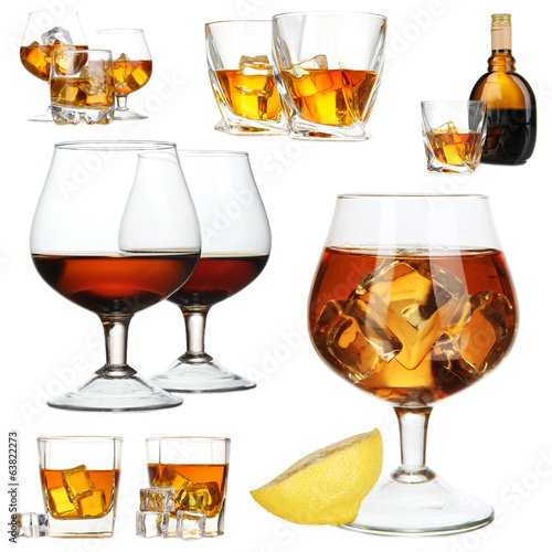 Collage of brandy glasses with ice cubes isolated on white