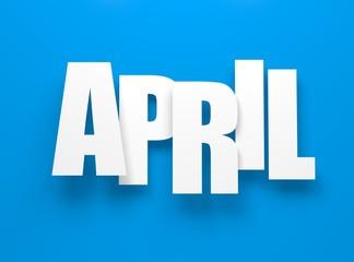 April on blue.