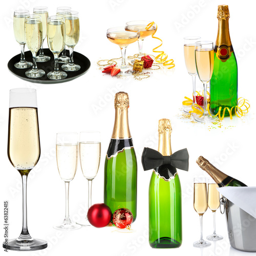 Champagne collage isolated on white
