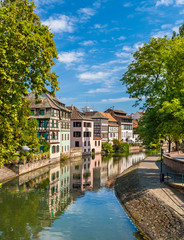 Canal in Petite France area, Strasbourg, France