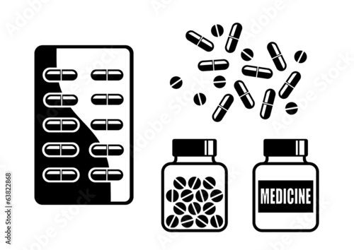 Medicine icons on white background