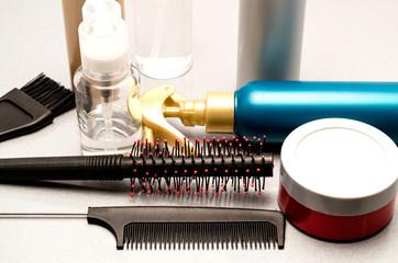 gel, hairbrush and balms for hair dressing