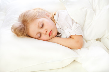 portrait of a little girl goes to bed, bed, sleep, rest